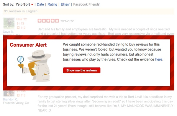 Yelp Penalizes Phony Reviews with a Warning